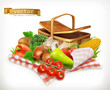 Farm and harvest, realistic vegetables. Tomato, onions, pepper, carrot and corn. Isolated 3d vector icon