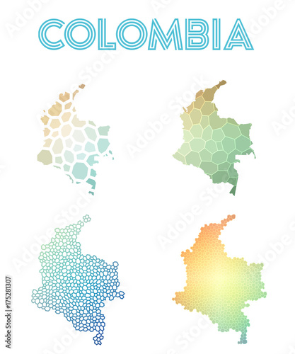 Deurstickers Geometrische dieren Colombia polygonal map. Mosaic style maps collection. Bright abstract tessellation, geometric, low poly, modern design. Colombia polygonal maps for infographics or presentation.