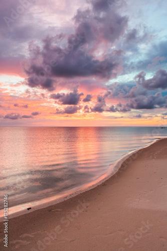 Fotobehang Strand Beautiful vivid sunset at paradise beach Borneo Malaysia