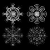 Set of flower mandalas in black and white. Hand drawn sacred geometry mandala background. Seed of life symbols. Vector.