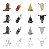 Wild, west, history and other web icon in cartoon style.Nature, travel, prairie, icons in set collection. - 175288533