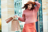 Fashionable beautiful woman shopping. Autumn style
