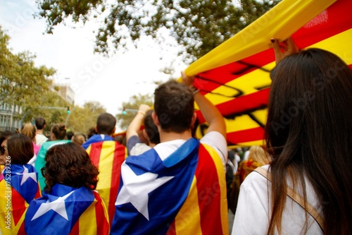Fotobehang Barcelona Vaga general contra la violencia policial en Barcelona (3 de octubre, 2017)