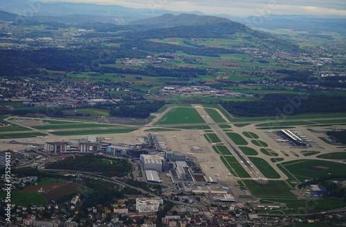 Fotobehang Parijs Aerial view of the Zurich Airport (ZRH), Switzerland