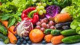 Different fresh fruits and vegetables for eating healthy, Various fresh vegetables organic after washed