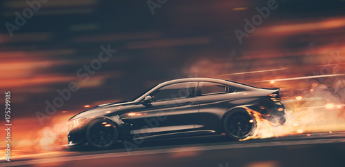 High speed black sports car - street racer concept (with grunge overlay) generic and brandless - 3d illustration