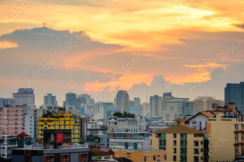 Bangkok cityscape at dusk with cloud, Thailand Poster