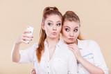 friends student girls taking self photo with smart phone - 175301915