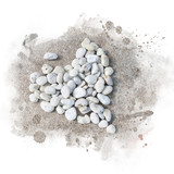 White gravel arrange are heart shaped. Watercolor painting (retouch). - 175302372