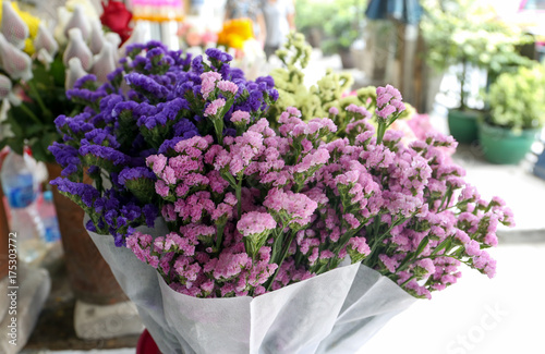 Bunch of colorful statice flower at local store for sell at On Nut, Bangkok, Tha Poster