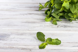 Organic fresh sprigs of mint on the wooden table - 175306958