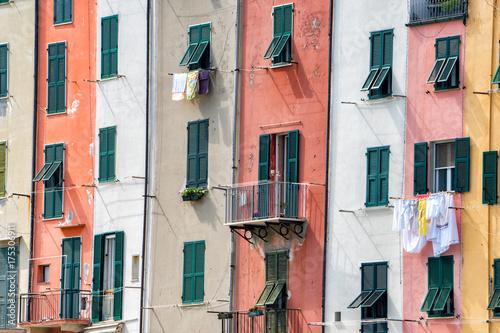 Portovenere painted houses of pictoresque italian village