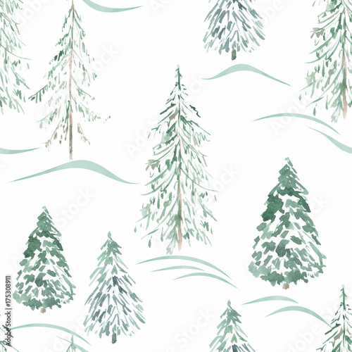 Watercolor seamless winter pattern . Winter forest . - 175308911