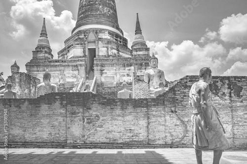 thai monk in wat yai chai mongkol temple ayutthaya world heritage site of unesco Poster