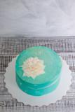 tiffany cream cheese cake with chocolate flower - 175309148