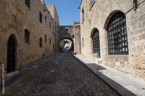Medieval street in the town of Rhodes, Greece