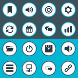 Vector Illustration Set Of Simple Practice Icons. Elements Diskette, Speaker, Reload And Other Synonyms Datacenter, Begin And Volume. - 175310993