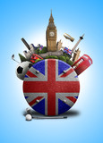 England, the icon with the British flag and sights - 175311396