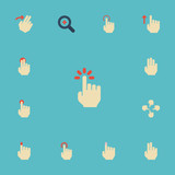 Flat Icons Two, Sensory, Touch And Other Vector Elements. Set Of Gestures Flat Icons Symbols Also Includes Multi, Gesture, Click Objects. - 175311537