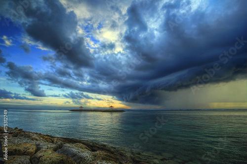 Keuken foto achterwand Zee zonsondergang Storm