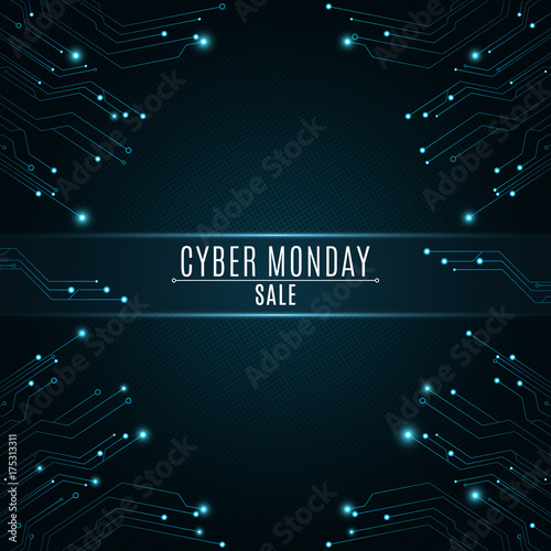 High-tech background from a computer circuit board for a cyber sale Monday. Luminous blue banner. Great sale. Glowing neon blue connectors. Vector