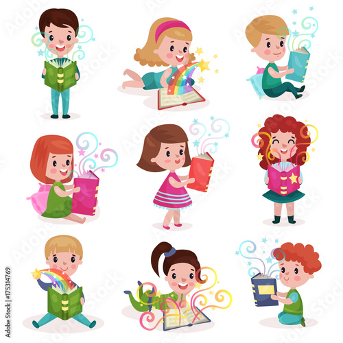 Cute little boys and girls reading fairytale books set, kids imagination concept colorful cartoon vector Illustrations © Happypictures