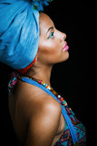 African black young woman beauty portrait with turban studio - 175315940