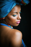 African black young woman beauty portrait with turban studio - 175315948