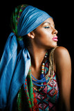 African black young woman beauty portrait with turban studio - 175315968
