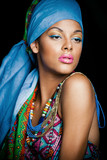 African black young woman beauty portrait with turban studio - 175315970