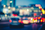Multicolored bokeh of cars at rush hour in Milan city urban area - Defocused traffic jam in highway intersection - Transport concept with blurred vehicles at night - Dark vivid color tones filter   - 175317705