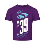 Vintage vehicle vector logo isolated on purple t-shirt mock up. Bronx, New York street wear superior retro tee print design. - 175321927