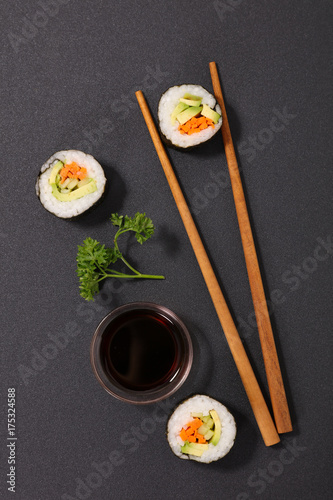 Foto op Canvas Sushi bar sushi and chopsticks