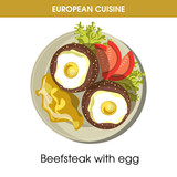 European cuisine beefsteak egg traditional dish food vector icon for restaurant menu - 175324913