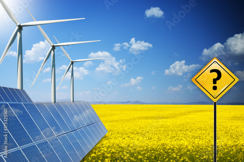 Renewable energy future with question mark on yellow road sign with photovoltaic Poster