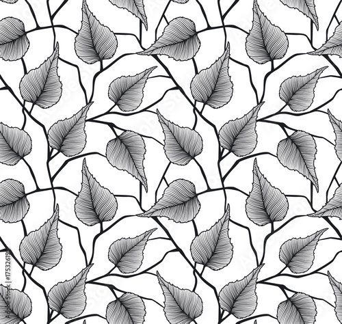 black and white seamless pattern with leaves and branches © Vectorovich