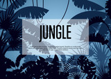 Deep tropical jungle poster. Floral landscape, wildlife concept, wood silhouettes, evening rainforest background. Night forest backdrop with palm leaves and trees vector illustration in cartoon style - 175328182