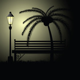 park bench empty with palm illustration - 175328956