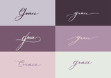 Grace by hand drawing calligraphy 6 styles on purple background - 175330967