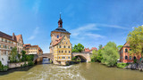 Bamberg. Panoramic view of Old Town Hall of Bamberg (Altes Rathaus) with two bridges over the Regnitz river, Bavaria, Germany - 175331340