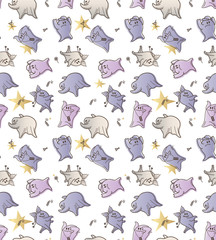 Seamless pattern with monsters of delicate colors. Funny ghosts in the cartoon style. Halloween Pattern