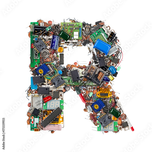 Foto Murales Letter R made of electronic components