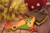 Toy kite, autumn leaves, tulle and knitted baby clothes - 175340592