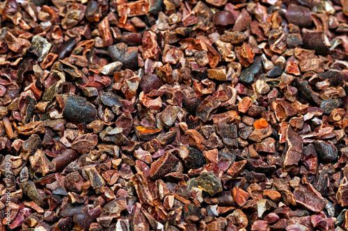 Organic cocoa nibs background