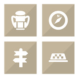 Set Of 4 Travel Icons Set.Collection Of Rucksack, Cab, Arrows And Other Elements. - 175342757