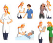 Vector illustration of a tender blonde nurse interacting with various injured and helpless patients.