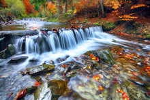 Mountain river with rapids and waterfalls at autumn time