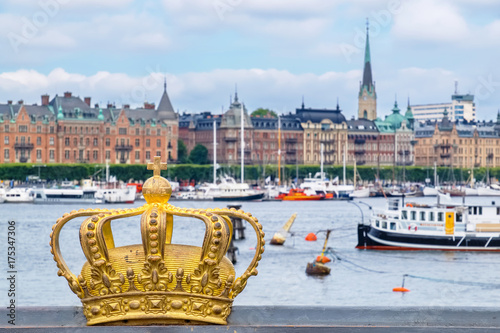 Golden crown in Stockholm. Sweden Poster