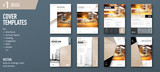 Set of business cover design template for brochure, report, catalog, magazine or booklet. Creative vector background concept. Beige - 175352912