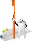 dentifricio spazzolino da denti e dente sorridente - 175357585